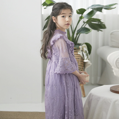 Girls Lace Garden Party Maxi Dress In Lavender Playground